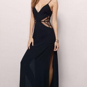 Black sheer side split maxi dress
